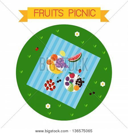 This is perfect flat design illustration of picnic topic. All you need for summer time picnic is here. A lot of fruits and berries, vegan and raw food.