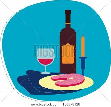 Perfect flat design illustration of wine topic. Tasty food for your needs, web, banners, infographic, pack and other