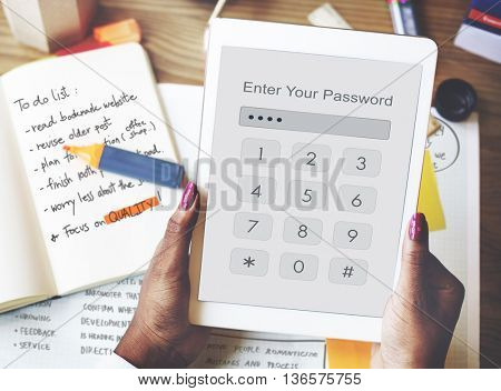 Technology Enter Password Security Graphic Concept