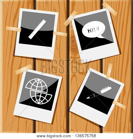 4 images: ruler, chat symbol, shift globe, ink pen and pencil. Education set. Photo frames on wooden desk. Vector icons.