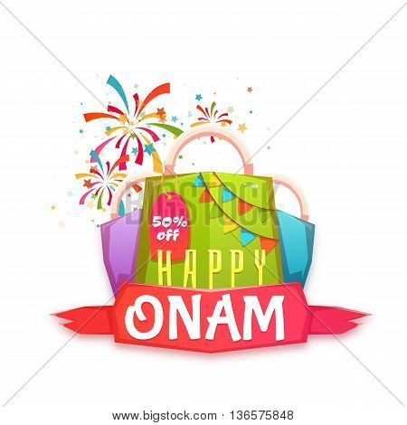 Sale Onam banner with packet and ribbon. Vector illustration.