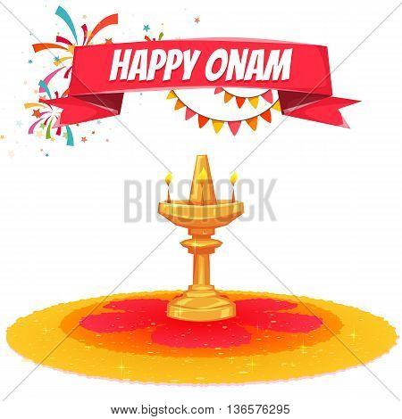 Onam sale banner with ribbon. Vector illustration.