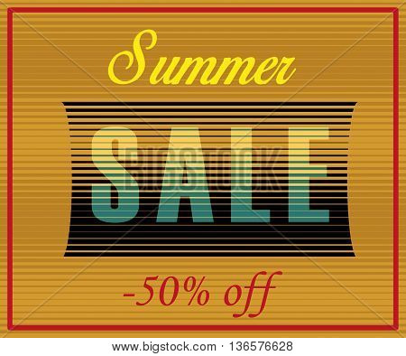 Summer Sale Inscription. Fifty percents off. Artistic font. Striped Yellow Blue Letters. Illustration.