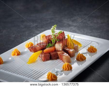 Stir Fried Vegetarian Pork on white plate