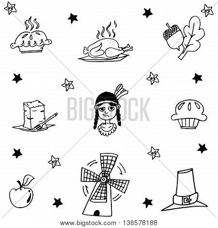 Thanksgiving object in doodle vector art illustration