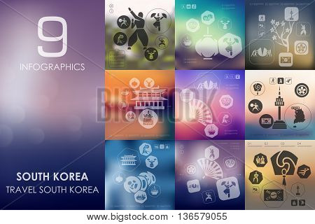 South Korea vector infographics with unfocused blurred background