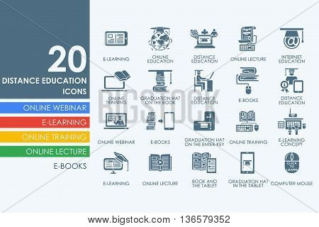 distance learning vector set of modern simple icons