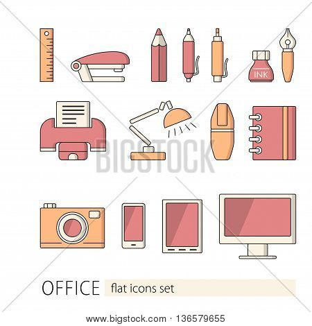 Vector illustration of office equipment. Flat style icons.