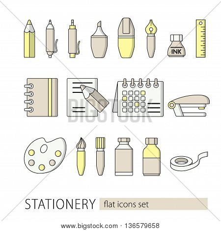 Collection of flat style stationery icons. School and office equipment. Vector illustration