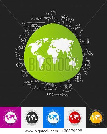 hand drawn simple elements with map paper sticker shadow