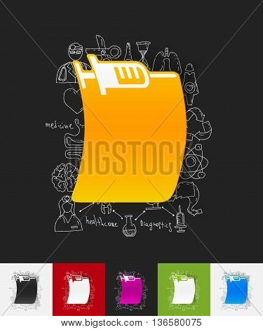hand drawn simple elements with syringe paper sticker shadow