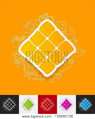 hand drawn simple elements with ketupat paper sticker shadow