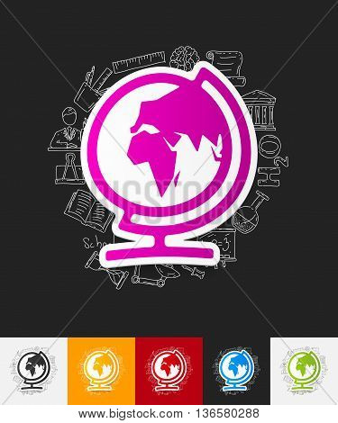 hand drawn simple elements with globe paper sticker shadow