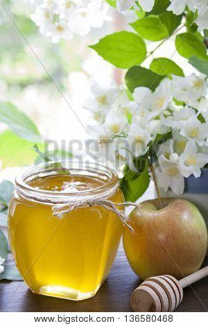 Delicious Fresh Spring Honey In Glass Jar