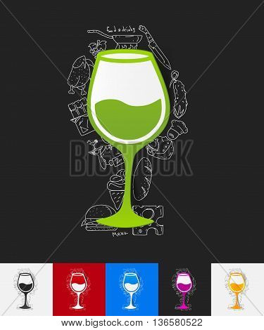 hand drawn simple elements with wineglass paper sticker shadow