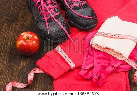 Sports Sneakers, Towel And Sports Bra