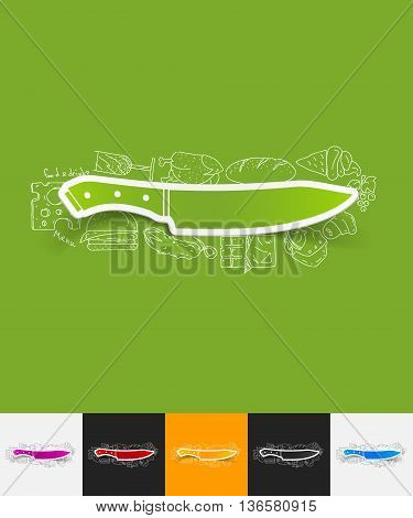 hand drawn simple elements with knife paper sticker shadow