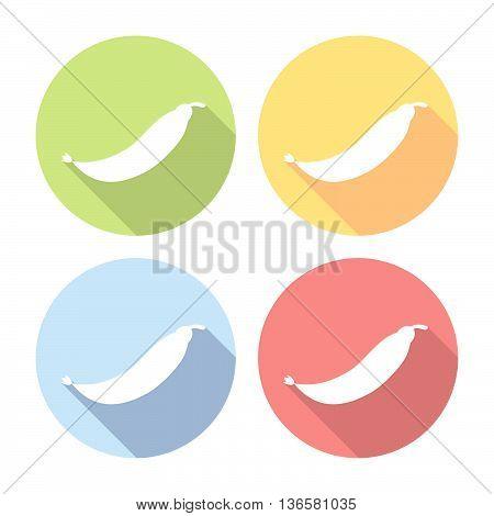Peas Pod Flat Icons Set