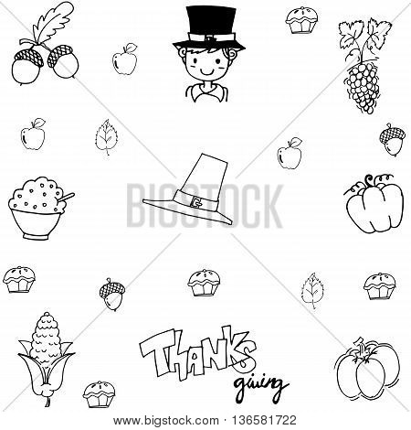 Doodle thanksgiving element vector on white backgrounds