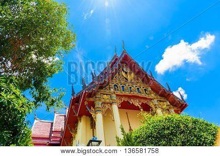 The Chapel Of  Wat Pho Chai Temple In Nong Khai, Thailand.