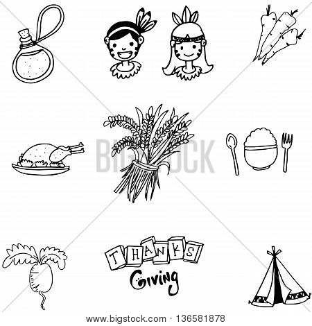 Element thanksgiving flat doodle vector art illustration