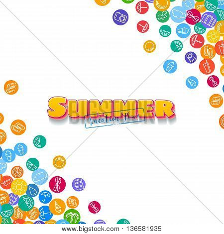 Vacation background with scattered summer flat icons
