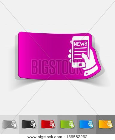 news in the smartphone paper sticker with shadow. Vector illustration