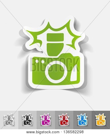 camera paper sticker with shadow. Vector illustration