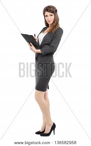 Business Woman in business suit holding pen and writing