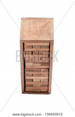 blocks wood game (jenga) isolated on white background