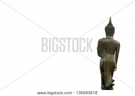 Buddha Statue at Wat Phra That Khao Noi landmark in Nan province northern of Thailand isolated on white