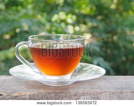 Relax with tea cup on wooden table