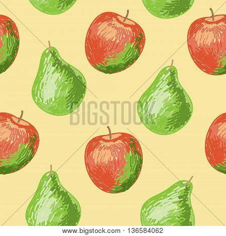 Seamless pattern with a apples and pears