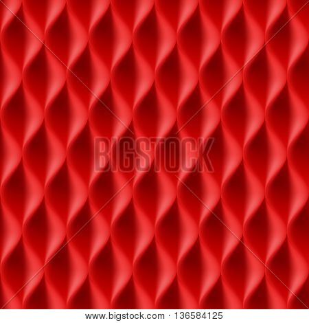 Vertical Wavy Seamless Pattern. Red Color Background