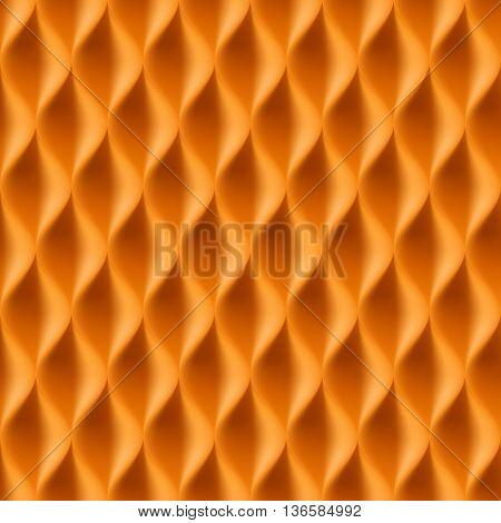 Vertical Wavy Seamless Pattern. Orange Color Background