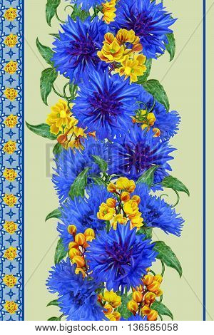 Pattern seamless. Vertical floral border. Bouquet of blue cornflowers and yellow barberry.
