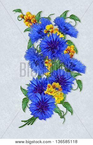 Flower composition. Bouquet of blue cornflowers and yellow barberry.