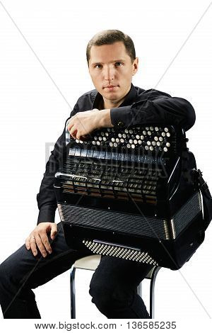 Accordion player. Photo shoot of classical musician