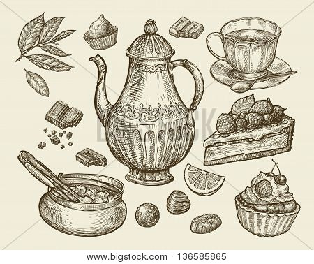 Food, tea, dessert. Hand-drawn vintage teapot, kettle, cup, sugar bowl, chocolate, candy fruitcake pastry piece of pie Sketch vector illustration