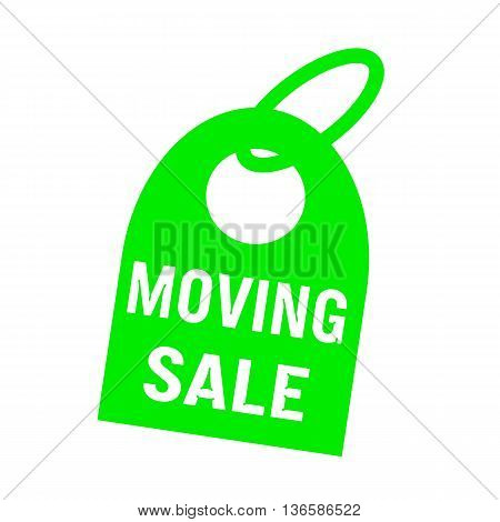 moving sale white wording on background green key chain