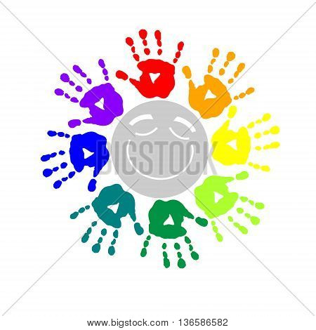 The color circle of a hand prints