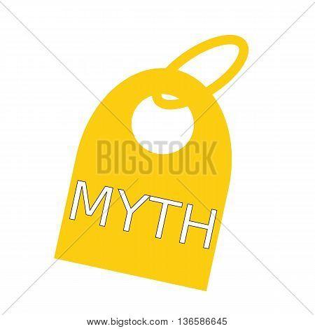 MYTH white wording on background yellow key chain