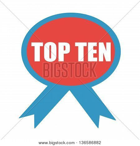 TOP TEN white wording on background red ribbon
