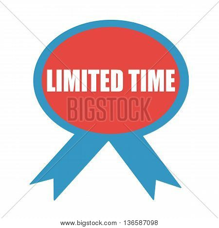 Limited time white wording on background red ribbon