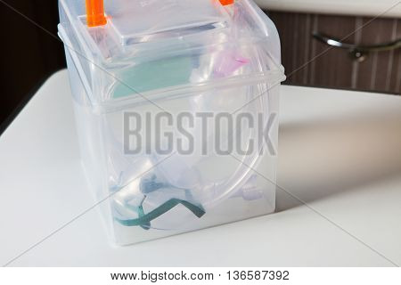 Oxygen Mask For Asthma Treatment On Table At Hospital Room.
