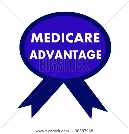 medicare advantage white wording on background blue ribbon