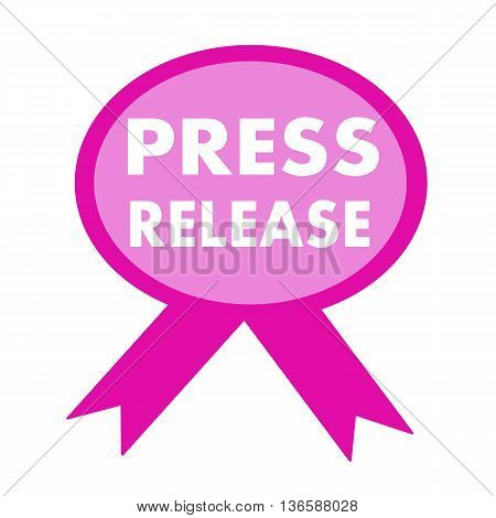 press release white wording on background pink ribbon