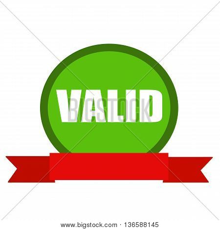VALID white wording on Circle green background ribbon red