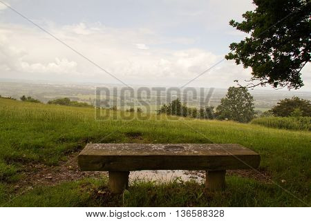 Bench With View Over The Chilterns In Buckinghamshire