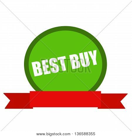 best buy white wording on Circle green background ribbon red